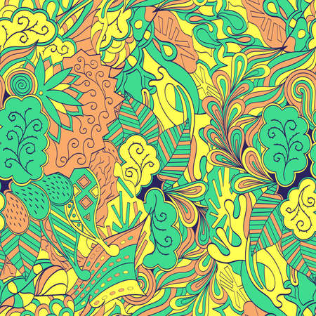 curlicue: Tracery seamless calming pattern. Mehendi design. Neat even green yellow harmonious doodle texture. Algae sea motif. Indifferent discreet. Ambitious bracing usable, curved doodling mehndi. Vector. Illustration