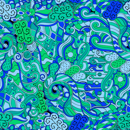primeval: Tracery seamless calming pattern. Mehendi design. Neat even blue harmonious doodle texture. Algae sea motif. Indifferent discreet. Ambitious bracing usable, curved doodling mehndi. Vector.