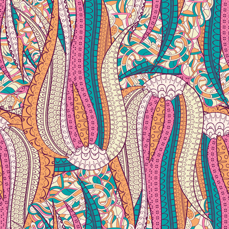 magnificence: Tracery seamless calming pattern. Mehendi design. Neat even colorful harmonious doodle texture.