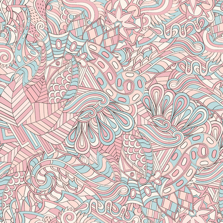 Tracery seamless calming pattern. Mehendi design. Neat even pastel harmonious doodle texture. Algae sea motif. Indifferent discreet. Ambitious bracing usable, curved doodling mehndi.  イラスト・ベクター素材