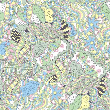 Tracery seamless calming pattern. Mehendi design. Neat even pastel harmonious doodle texture. Algae sea motif. Indifferent discreet. Ambitious bracing usable, curved doodling mehndi. 向量圖像