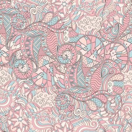 Tracery seamless calming pattern. Mehendi design. Neat even pastel harmonious doodle texture. Algae sea motif. Indifferent discreet. Ambitious bracing usable, curved doodling mehndi. Illustration