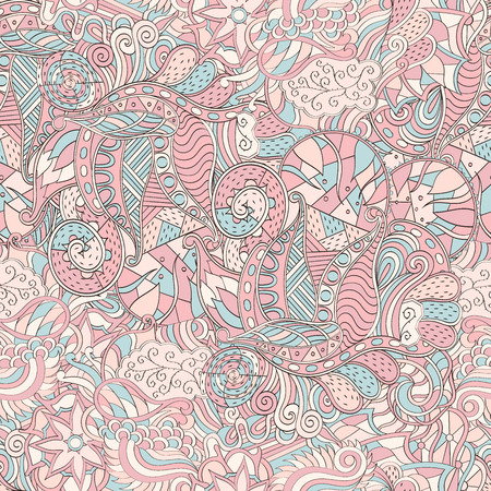 Tracery seamless calming pattern. Mehendi design. Neat even pastel harmonious doodle texture. Algae sea motif. Indifferent discreet. Ambitious bracing usable, curved doodling mehndi. Иллюстрация