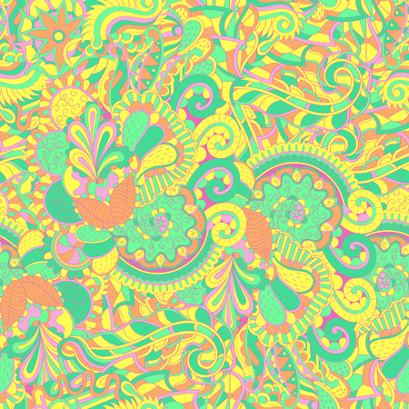 Tracery seamless calming pattern. Mehendi design. Neat even pastel harmonious doodle texture. Algae sea motif. Indifferent discreet. Ambitious bracing usable, curved doodling mehndi. Vector. Illustration