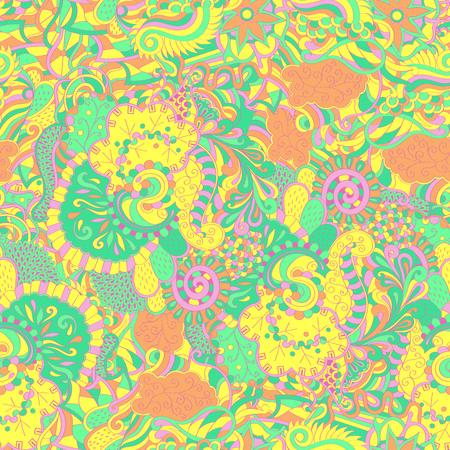 Tracery nahtloses beruhigendes Muster. Mehendi Design. Ordentlich sogar Pastell harmonische Doodle Textur. Algen Meer Motiv. Gleichgültig diskret. Ambitionierte Abspannung nutzbar, gebogener kritzelnder Mehndi. Vektor. Vektorgrafik