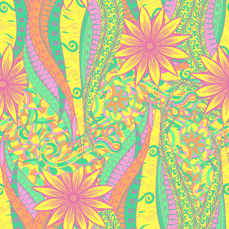 Tracery seamless calming pattern. Mehendi design. Neat even pastel harmonious doodle texture. Algae sea motif. Indifferent discreet. Ambitious bracing usable, curved doodling mehndi. Vector. Ilustrace