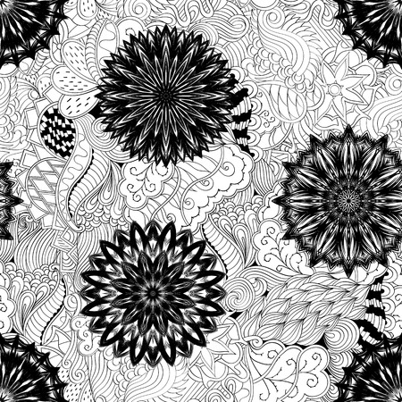 Tracery seamless pattern calming. Mehndi flowers design. Neat even doodle binary harmonious texture. Algae sea motif. Ethnically indifferent. Ambiguous usable bracing, curved doodling mehendi. Vector.