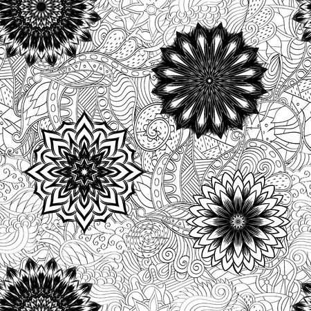 bracing: Tracery seamless pattern calming. Mehndi flowers design. Neat even doodle binary harmonious texture. Algae sea motif. Ethnically indifferent. Ambiguous usable bracing, curved doodling mehendi. Vector.