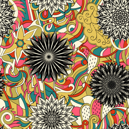Tracery seamless calming pattern. Mehendi design. Neat even colorful harmonious doodle texture. Algae sea motif. Indifferent discreet. Ambitious bracing usable, curved doodling mehndi. Vector.