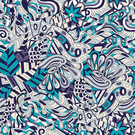 bracing: Tracery seamless calming pattern. Mehendi design. Neat even colorful harmonious doodle texture. Algae sea motif. Indifferent discreet. Ambitious bracing usable, curved doodling mehndi. Vector.