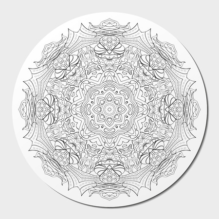 Ray edge mandala tracery wheel mehendi  design. Tracery calming ornament. Neat even binary harmonious doodle texture. Indifferent discreet. Ambitious bracing usable doodling mehndi pattern. Vector.