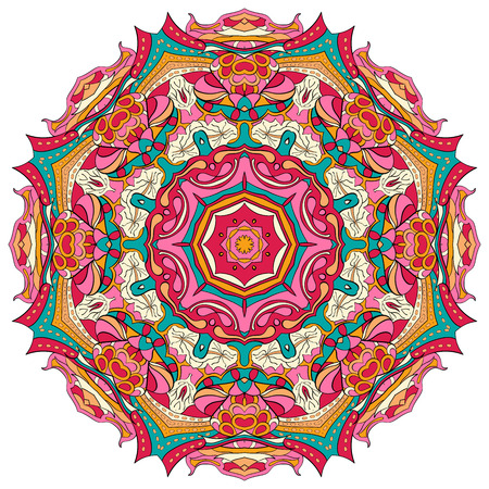 Ray edge mandala tracery wheel mehendi  design. Tracery calming ornament. Neat even colorful harmonious doodle texture. Indifferent discreet. Ambitious bracing usable doodling mehndi pattern. Vector.