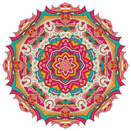 magnificence: Ray edge mandala tracery wheel mehendi  design. Tracery calming ornament. Neat even colorful harmonious doodle texture. Indifferent discreet. Ambitious bracing usable doodling mehndi pattern. Vector.