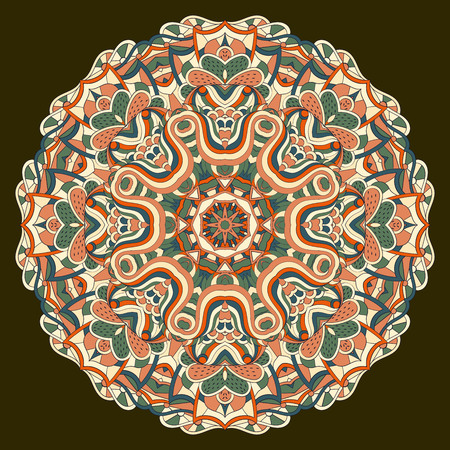 Ray edge mandala tracery wheel mehendi design. Tracery calming ornament. Neat even colorful harmonious doodle texture. Indifferent discreet. Trace bracing usable doodling mehndi pattern. Vector. Illustration