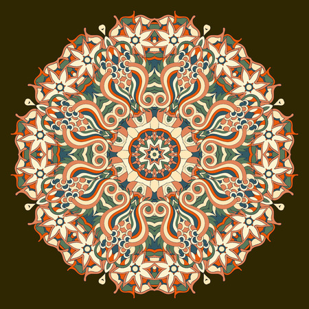 mongoloid: Ray edge mandala tracery wheel mehendi design. Tracery calming ornament. Neat even colorful harmonious doodle texture. Indifferent discreet. Trace bracing usable doodling mehndi pattern. Vector. Illustration