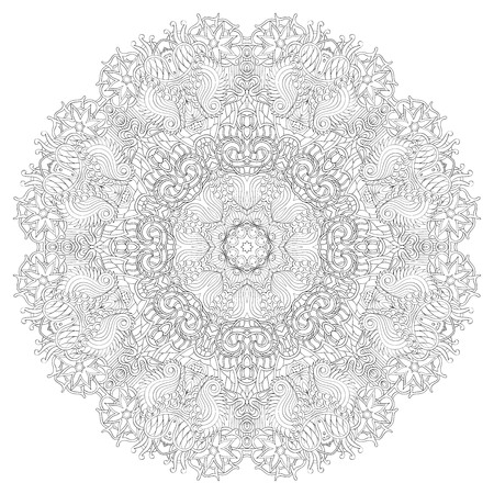 discreet: Ray edge mandala tracery wheel mehndi design. Tracery calming ornament. Neat even binary harmonious doodle texture. Indifferent discreet. Trace bracing usable doodling mehndi pattern. Vector.
