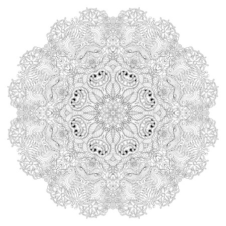 Ray edge mandala tracery wheel mehndi design. Tracery calming ornament. Neat even binary harmonious doodle texture. Indifferent discreet. Trace bracing usable doodling mehndi pattern. Vector.