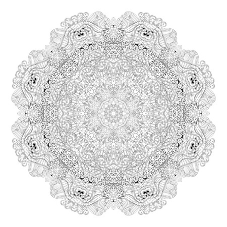 Ray edge mandala tracery wheel mehndi design. Tracery calming ornament. Neat even binary harmonious doodle texture.