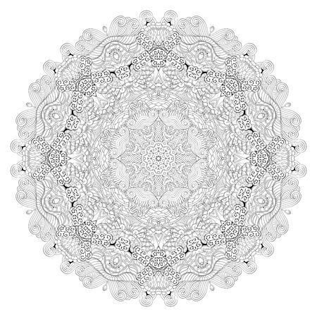 unpredictable: Ray edge mandala tracery wheel mehndi design. Tracery calming ornament. Neat even binary harmonious doodle texture. Indifferent discreet. Trace bracing usable doodling mehndi pattern. Vector.