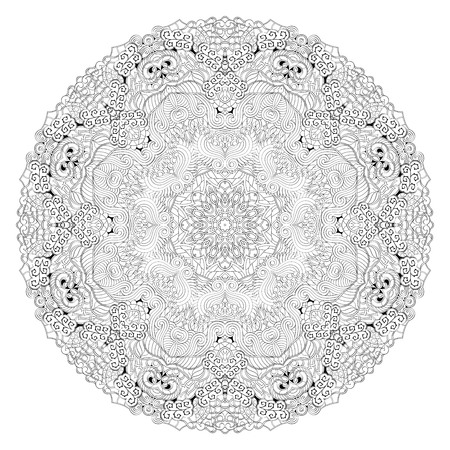 Ray edge mandala tracery wheel mehndi design. Tracery calming ornament. Neat even binary harmonious doodle texture. Indifferent discreet. Trace bracing usable doodling mehndi pattern. Vector.
