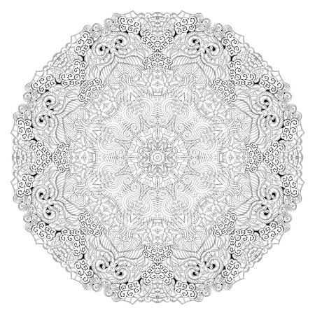 Ray edge mandala tracery wheel mehndi design. Tracery calming ornament. Neat even binary harmonious doodle texture. Indifferent discreet. Trace bracing usable doodling mehndi pattern. Vector. Vetores