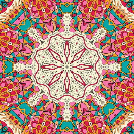 Tracery colorful pattern. Mehendi carpet design.