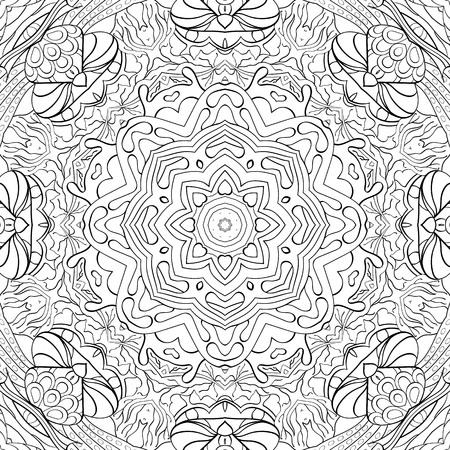 festival scales: Tracery binary monochrome pattern. Mehendi carpet design.