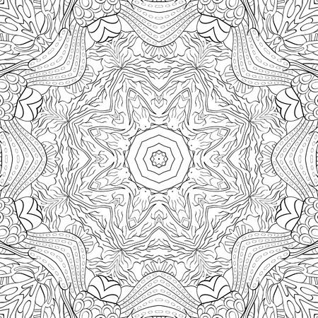seamlessly: Tracery binary monochrome pattern. Mehendi carpet design.
