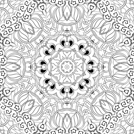 swill: Tracery binary monochrome pattern. Mehendi carpet design. Neat even harmonious calming doodle texture. Also seamless. Indifferent discreet. Ambitious bracing usable, curved doodling mehndi. Vector. Illustration