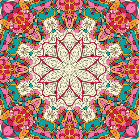 discreet: Tracery colorful pattern. Mehendi carpet design. Neat even harmonious calming doodle texture. Also seamless. Indifferent discreet. Trace ambitious bracing usable, curved doodling mehndi. Vector.