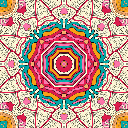 Tracery colorful pattern. Mehendi carpet design. Neat even harmonious calming doodle texture. Also seamless. Indifferent discreet. Trace ambitious bracing usable, curved doodling mehndi. Vector.