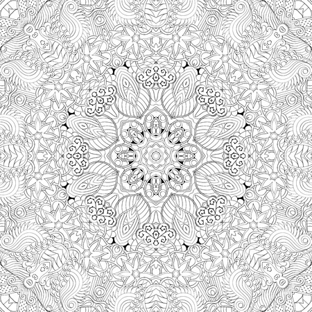 discreet: Tracery binary pattern. Mehendi carpet design. Neat even harmonious calming doodle texture. Also seamless. Indifferent discreet. Ambitious bracing usable, curved doodling mehndi. Vector.