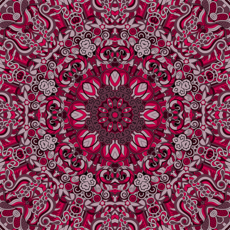 Tracery colorful red pattern. Mehendi carpet design. Neat even harmonious calming doodle texture. Also seamless. Indifferent discreet. Ambitious bracing usable, curved doodling mehndi. Vector.