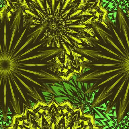 Fondo floral sin fisuras. Tracery hecho a mano naturaleza telón de fondo étnico telón de fondo con flores. Textura de diseño textil. Color decorativo art. Vector. Foto de archivo - 77219763