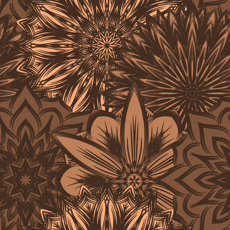 lightness: Seamless floral background. Tracery handmade nature ethnic fabric backdrop pattern with flowers. Textile design texture. Decorative color art. Vector. Illustration