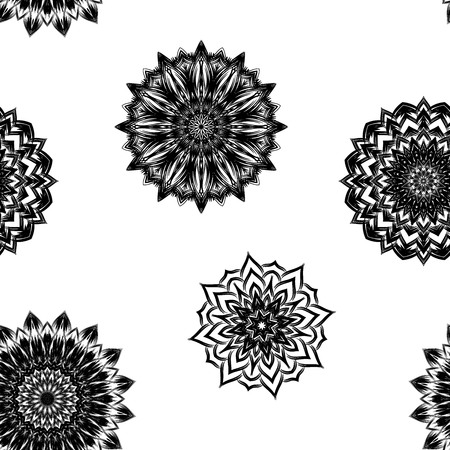 campanula: Seamless floral background. Tracery handmade nature ethnic fabric backdrop pattern with flowers. Textile design texture. Decorative binary art. Vector. Illustration