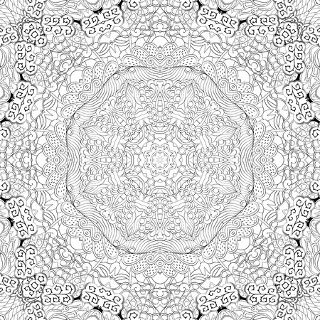 Tracery binary pattern. Mehendi carpet design. Neat even harmonious calming doodle texture. Also seamless. Indifferent discreet. Ambitious bracing usable, curved doodling mehndi. Vector.