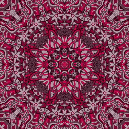 discreet: Tracery colorful red pattern. Mehendi carpet design. Neat even harmonious calming doodle texture. Also seamless. Indifferent discreet. Ambitious bracing usable, curved doodling mehndi. Vector.