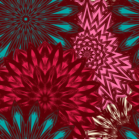 Seamless floral background. Tracery handmade nature ethnic fabric backdrop pattern with flowers. Textile design texture. Decorative color art. Vector. Illustration