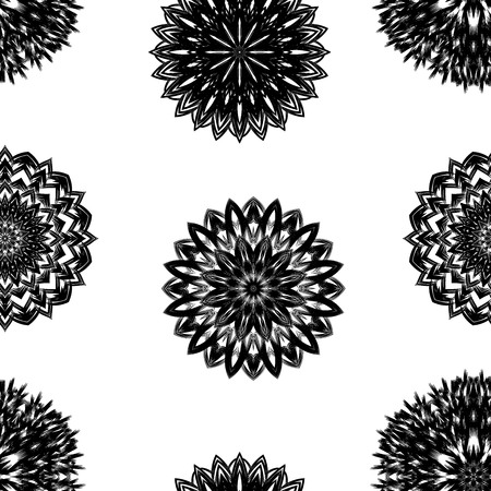 indium: Seamless floral background. Tracery handmade nature ethnic fabric backdrop pattern with flowers. Textile design texture. Decorative binary art. Vector. Illustration
