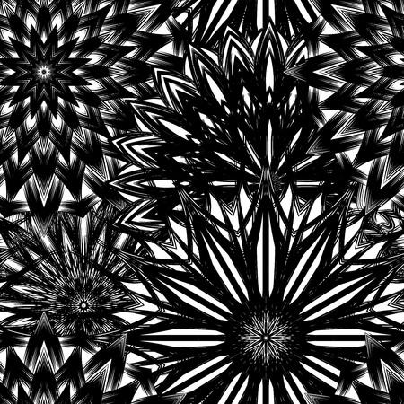 Naadloze bloemenachtergrond. Tracery handgemaakte natuur etnische stof achtergrond patroon met bloemen. Textielontwerp textuur. Decoratieve binaire kunst. Vector. Vector Illustratie