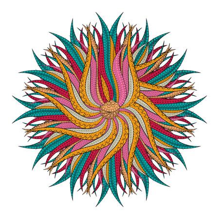 Tracery isolated figure. Mehendi design. Neat even harmonious doodle texture. Silt algae, sea motif, tentacles. Ambitious, bracing, usable curved doodling mehndi. Vector.