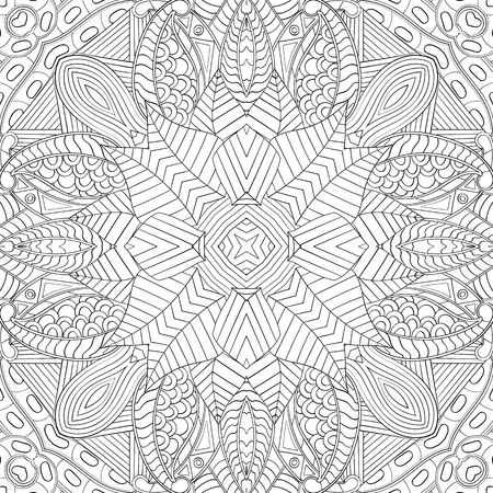 Tracery binary monochrome pattern. Mehendi carpet design. Neat even harmonious calming doodle texture. Also seamless. Indifferent discreet. Ambitious bracing usable, curved doodling mehndi. Vector. Ilustração