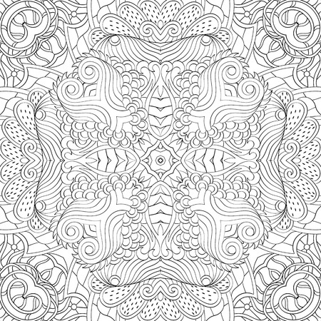 Tracery binary monochrome pattern. Mehendi carpet design. Neat even harmonious calming doodle texture. Also seamless. Indifferent discreet. Ambitious bracing usable, curved doodling mehndi. Vector. Illustration
