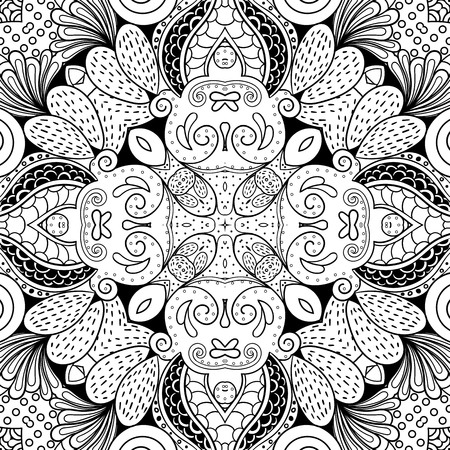 discreet: Tracery binary monochrome pattern. Mehendi carpet design. Neat even harmonious calming doodle texture. Also seamless. Indifferent discreet. Ambitious bracing usable, curved doodling mehndi. Vector. Illustration