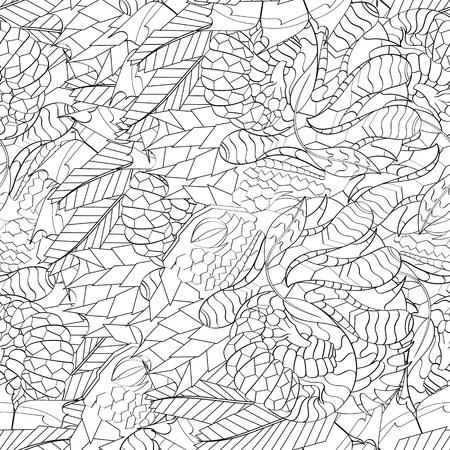 식료품 점 원활한 진정 패턴입니다. Mehndi 디자인. 단색 이진 조화로 운 텍스처조차 청초합니다. 조류 바다 모티브. 인종적으로 무관심한. 애매한 사용 가능한 브레이싱, 곡선 낙서 mehendi. 벡터. 스톡 콘텐츠 - 77219966