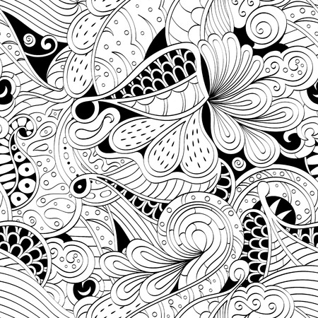 discreet: Tracery seamless calming pattern. Mehendi design. Neat even binary harmonious doodle texture. Algae sea motif. Indifferent discreet. Ambitious bracing usable, curved doodling mehndi. Vector. Illustration