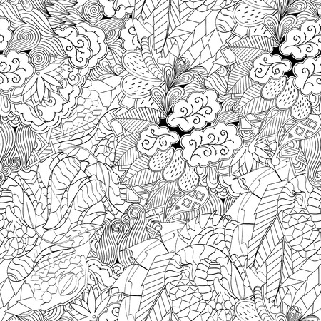 festival scales: Tracery seamless calming pattern. Mehndi design. Neat even monochrome binary harmonious texture. Algae sea motif. Ethnically indifferent. Ambiguous usable bracing, curved doodling mehendi. Vector.