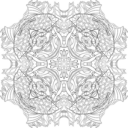 Ray edge mandala tracery wheel mehndi design. Tracery calming ornament. Neat even binary monochrome harmonious doodle texture. Indifferent discreet.  Bracing usable doodling mehndi pattern. Vector.