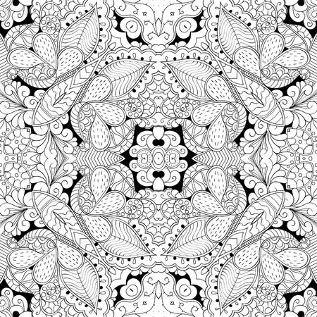 Tracery seamless calming pattern. Mehndi design. Neat even monochrome binary harmonious texture. Algae sea motif. Ethnically indifferent. Ambiguous usable bracing, curved doodling mehendi. Vector.